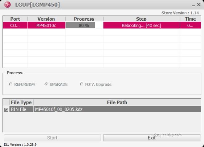 LGUP LGMP450 flashing done with LGUP
